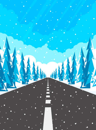 Winter road and falling snow. Rural winter landscape with trees and highway. Illustration