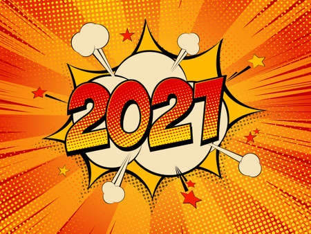 Happy New Year 2021 pop art comic background lightning blast halftone dots. Cartoon Vector Illustration on red.