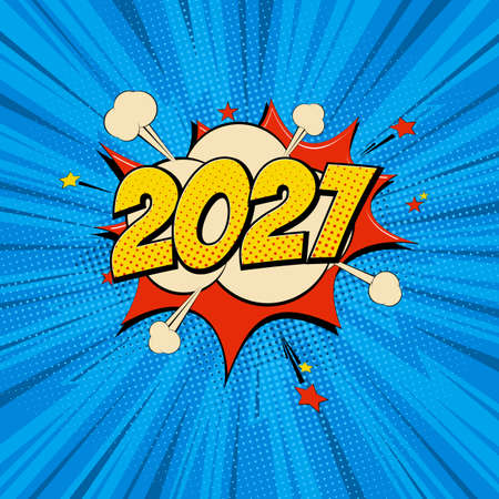 New Year 2021 pop art comic background lightning blast halftone dots.