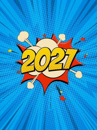 New Year 2021 pop art comic background lightning blast halftone dots. Cartoon Vector Illustration on blue Vettoriali