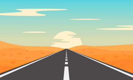 Road in desert. Desert landscape with asphalt highway. Illustration