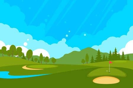 Golf course with flags, sand bunker and greens. Illustration