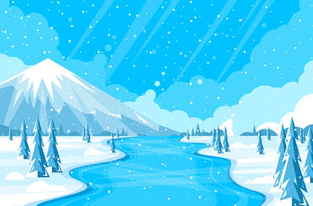 Winter landscape with fir trees and snow. Christmas card background.