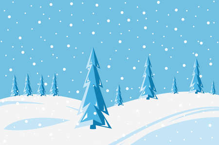 Winter snowy landscape background. Christmas vector illustration.
