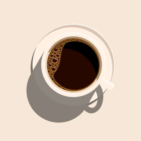 Cup of coffee on saucer, view from the top. Isolated vector illustration on white background.