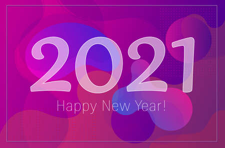 2021 Happy New Year greetings card and festive poster. Abstract fluid shapes purple wave background.