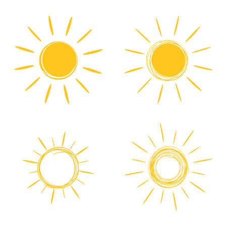 Sun icons set. Hand drawing in the style of doodle.