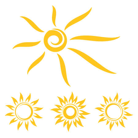 Sun icons set. Cartoon drawing sun.