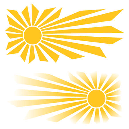Sun icon set. Cartoon vector illustration