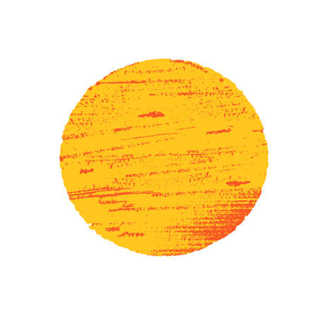Sun in grunge style. Orange circle on white background.