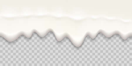 Yogurt creamy liquid. Seamless texture on a transparent background.