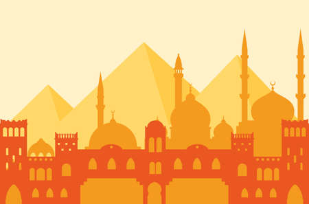 Egypt. Silhouette of Cairo, Arab architecture, mosques and the great pyramids of Giza. Illustration