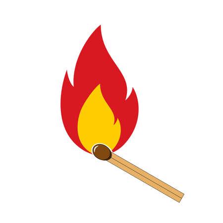 Burning match vector illustration.