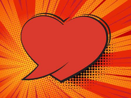Valentine heart. Speech bubble comic heart
