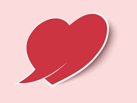 Valentine heart. Speech bubble paper cut heart