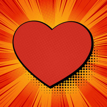 Valentine comic. Heart on red comic background. Cartoon Vector Illustration.