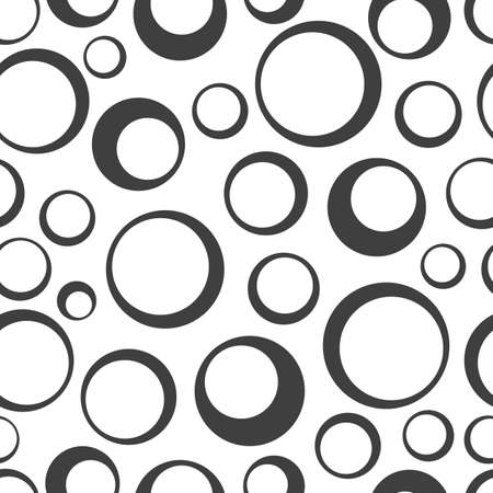 Seamless pattern with rings. Black circles on a white background. Trendy geometric design.