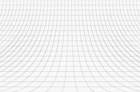 Curved perspective grid. Curved black lines on a white background.