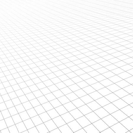 Diagonal perspective grid. Abstract wireframe landscape. 3d vector illustration.