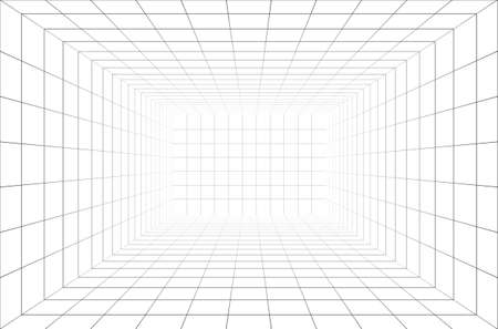 Vector perspective grid. 3d wireframe room. Illustration