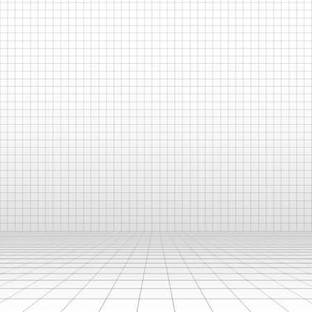 Perspective grid. Abstract wireframe room. 3d vector illustration.