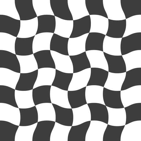 Wavy checkered seamless pattern. Abstract twisted background