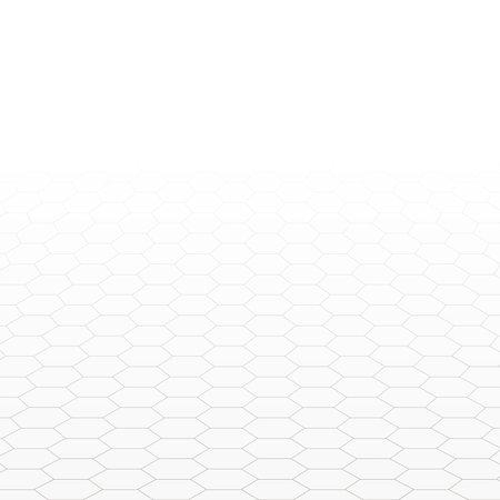 Hexagon perspective grid. Abstract hexagonal background.