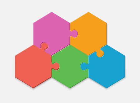 Five pieces of a hexagon puzzle. Hexagonal mosaic infographics.