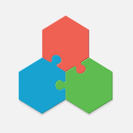 Three pieces of a hexagon puzzle. Hexagonal mosaic infographics.