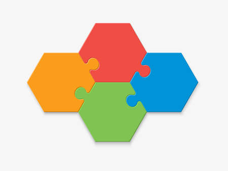 Four pieces of a hexagon puzzle. Hexagonal mosaic infographics. Illustration