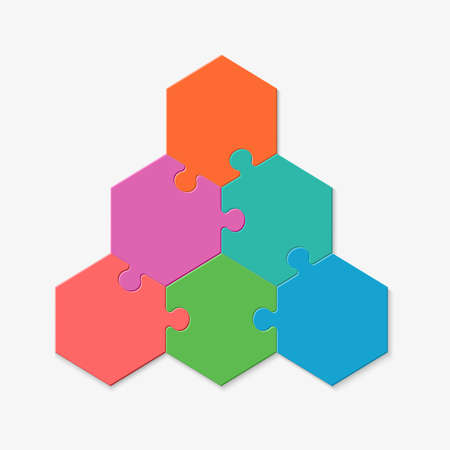 Six pieces of a hexagon puzzle. Hexagonal mosaic infographics.