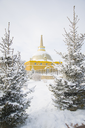 stupa one: Great stupa of reconciliation. The stupa is one of the temples of Buryatia. Stock Photo