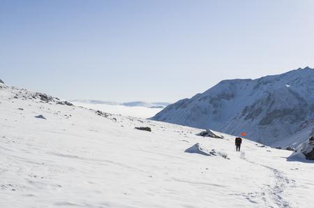 Journey through the Siberian Tibet. A tourist in the mountains of Siberia.