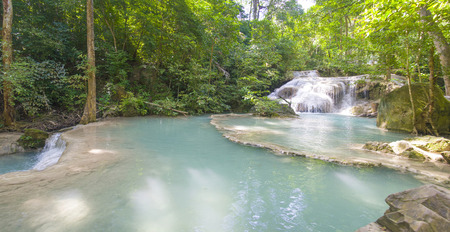 a bathing place: Scenic waterfall Erawan located in a national Park in Thailand. One of the cascades.