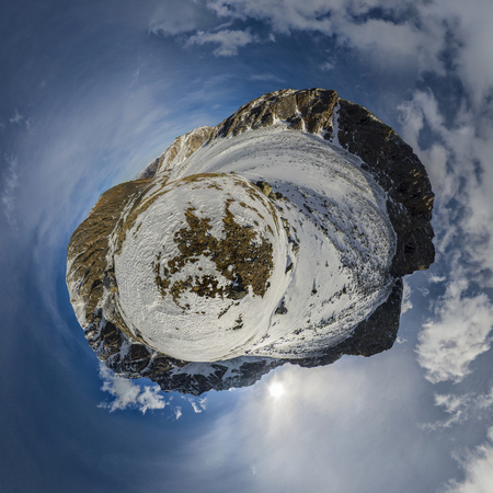 The Mountains Of The Eastern Sayan. Little planet. The beautiful landscape of the Siberian mountains.