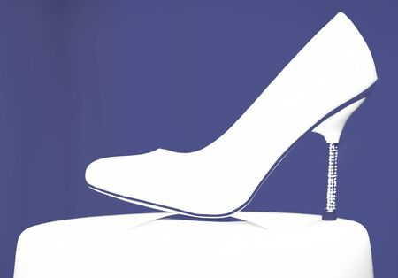 The Shoe of the bride is on a stand. Wedding illustration.