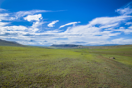 The great expanses of the Asian steppe is located in Buryatia. Stock Photo