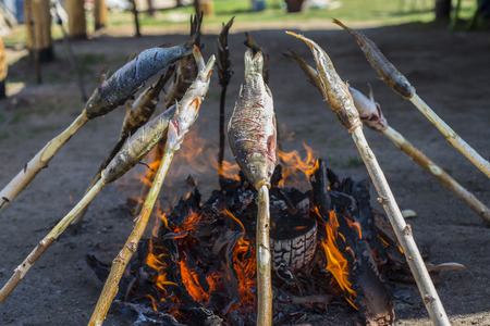 Fresh Baikal fish roasted on the coals. The food of the fisherman.