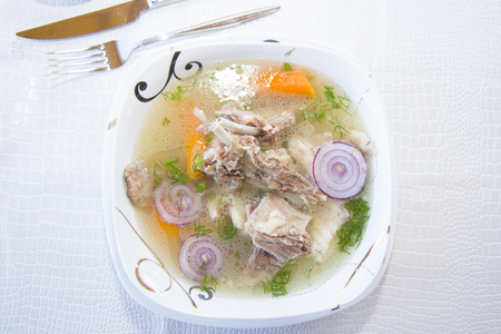Buhler - Buryat national soup with lamb, very fatty and rich. Banco de Imagens