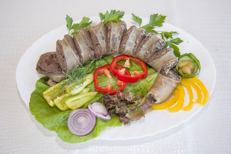 Blood sausage is a dish of Buryat national cuisine. Stock Photo
