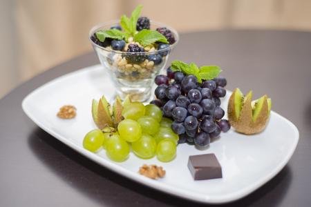 Fruity, nutty Breakfast in a five star hotel room in the Republic of Buryatia. Stock Photo