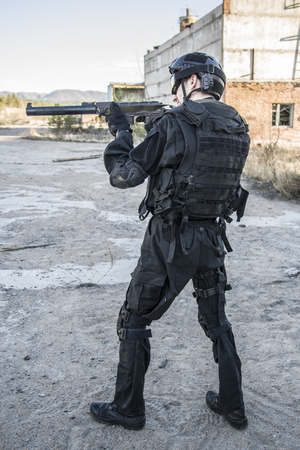 anti terrorist: Russian special forces training at a military training ground. Fulfills military action against terrorism.