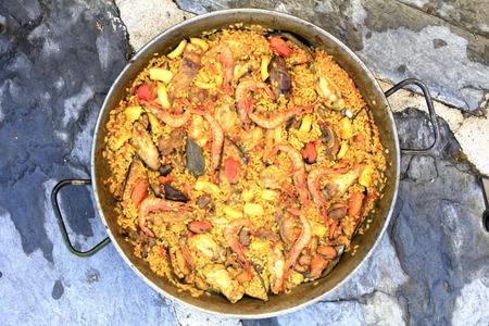 marisco: paella, Valencian dish of Spanish food and very good