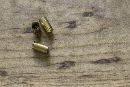 Empty 9mm brass bullet shell casings