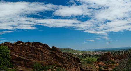 denver parks: Red Rocks Park Colorado Stock Photo