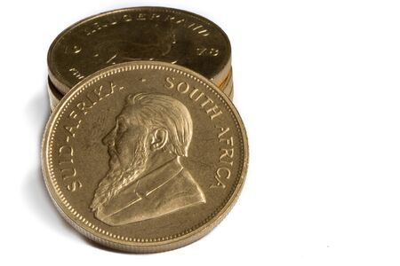 troy: Stack of 1oz Gold Krugerrand Coins Stock Photo