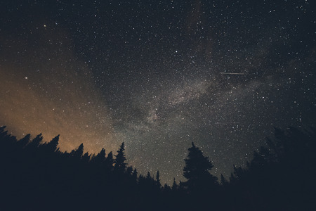 Milk Way and Shooting Stars over Breckenridge Colorado Imagens - 43674875