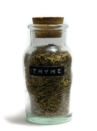 spice: Thyme in glass spice jar Stock Photo