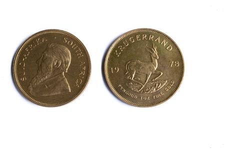 Gouden Krugerrand Bullion Coins - voor- en achterzijde Stockfoto