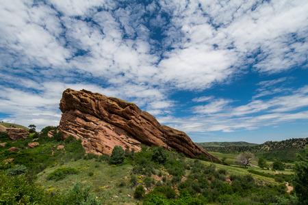 colorado landscape: Red Rock Jutting out of Colorado Landscape